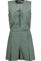 Derek Lam 10 Crosby By Lace Up Linen Blend Twill Playsuit Army Green