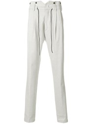 Al Duca D'aosta 1902 Drawstring Fastening Trousers Cotton Spandex Elastane Viscose Wool Grey