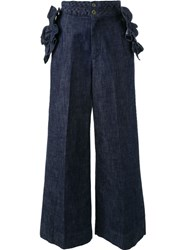 Muveil Frill Pocket Palazzo Jeans Blue