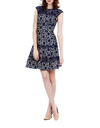 Kay Unger Bonded Lace Fit And Flare Dress Navy