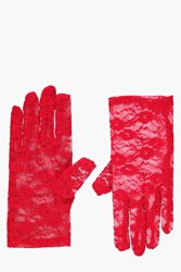 Boohoo Short Lace Gloves Red