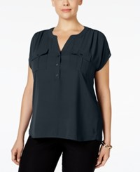 Inc International Concepts Plus Size Mixed Media Utility Shirt Only At Macy's Deep Twilight