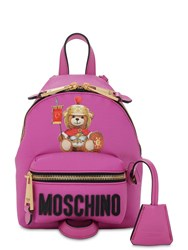 Moschino Mini Teddy Printed Pvc Backpack Fuchsia