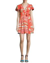 Marc Jacobs Floral Print Flutter Sleeve Wrap Dress Red Red Pattern