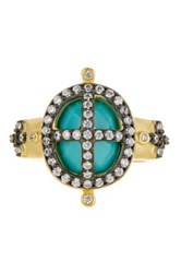 Freida Rothman 14K Gold Plated Sterling Silver Cz Turquoise Cage Ring Metallic