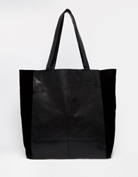 Warehouse Leather And Suede Shopper In Black