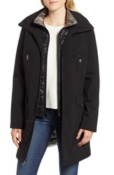 Kenneth Cole New York Raincoat With Quilted Bib Lining Black