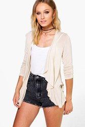 Boohoo Lightweight Knit Waterfall Cardigan Stone