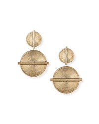 Nest Carved Coin Drop Earrings Gold