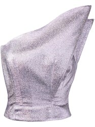 Vika Gazinskaya Metallic One Shoulder Top Pink Purple