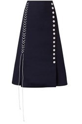By Malene Birger Lace Up Woven Midi Skirt Midnight Blue