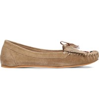 Miss Kg Mona Suede Moccasin Loafers Beige