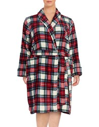 Lauren Ralph Lauren Plus Fleece Printed Robe White
