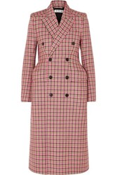 Balenciaga Hourglass Double Breasted Checked Wool Coat Pink