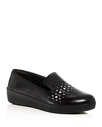 Fitflop Audrey Pearl Stud Leather Platform Smoking Slippers Black