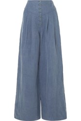 Ulla Johnson Reid Chambray Wide Leg Pants Mid Denim