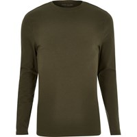 River Island Mens Khaki Muscle Fit Long Sleeve T Shirt