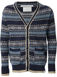 White Mountaineering Jacquard Pattern Cardigan Blue