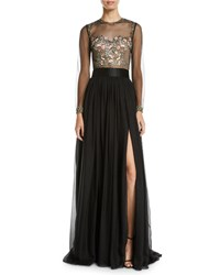 Catherine Deane Leslie Embellished And Sheer Long Sleeve Gown Black