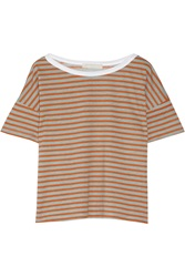 Kain Label Dixie Striped Cotton And Modal Blend Top Orange