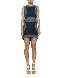 2Nd Day Ribbed Patchwork Dress Blue
