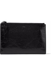 Iro Glossed Cracked Leather Pouch Black