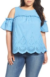 Democracy Plus Size Women's Cold Shoulder Eyelet Top