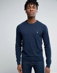 Original Penguin Crew Jumper Cotton Small Logo In Navy Dark Sapphire