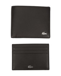 Lacoste Black Leather Wallet And Card Holder Set