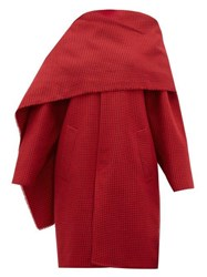 Balenciaga Draped Neckline Houndstooth Wool Coat Red Multi