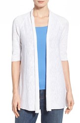Women's Eileen Fisher Organic Linen And Cotton Elbow Sleeve Straight Cardigan White