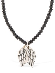 Cantini Mc Firenze Wings Beaded Necklace Black Silver