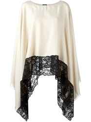Twin Set Lace Trim Poncho Nude And Neutrals