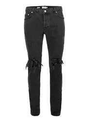 Topman Black Blow Out Ripped Jeans