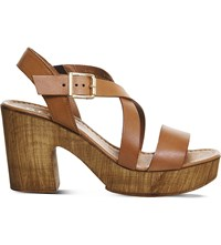 Office Michigan Leather Cross Strap Heeled Sandals Tan Leather