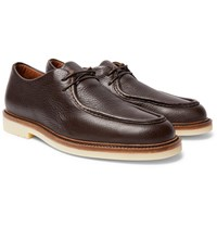 Loro Piana Dover Walk Textured Leather Derby Shoes Brown