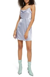 Topshop Cowl Neck Satin Mini Slipdress Light Blue