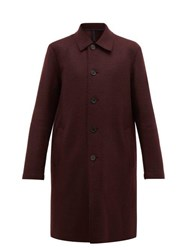 Harris Wharf London Single Breasted Pressed Wool Overcoat Burgundy