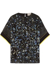 Preen Ayres Printed Chffon And Crepe Top Black