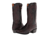 Lucchese M1609 Black Cherry Full Quill Ostrich Black Derby Calf Cowboy Boots