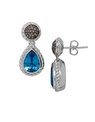 Lord And Taylor Blue Topaz Brown Diamond Sterling Silver Drop Earrings