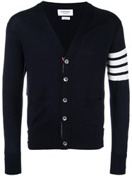 Thom Browne V Neck Cardigan Blue