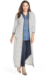 Tart 'Katia' Stripe Full Length Cardigan Plus Size Charcoal Stripe
