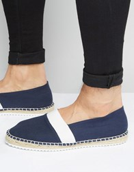 Asos Espadrilles In Navy Canvas With Contrast Sole Navy