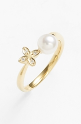 Mikimoto Akoya Pearl And Diamond Ring Akoya Pearl Yellow Gold