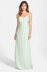 Women's Amsale Strapless Crinkle Chiffon Gown Mint
