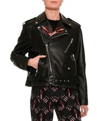 Valentino Love Blade Embroidered Leather Moto Jacket Back Black