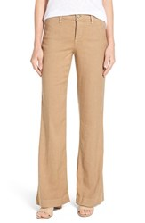 Nydj Women's 'Claire' Linen Blend Wide Leg Trousers Light Toffee