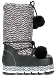 Dolce And Gabbana Pompom Lace Snow Boots Black
