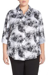Plus Size Women's Foxcroft 'Sketched Daisy' Print Wrinkle Free Shirt